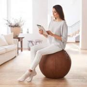 Stryve Ball Lederstoff, Balance Ball, Gymnastikball zum aktiven Sitzen, 65 cm, braun