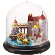 Cuteroom Dollhouse Miniature Castle DIY Kit With Cover And LED