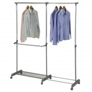 IDIMEX Garderobenwagen MERAN grau/silber höhenverstellbar