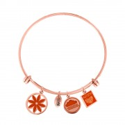 CO88 Armband Bangle 'Bloem/Wolk/Herfst' staal/rosé, one-size 8CB-16005