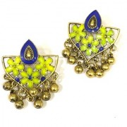 Digital Dress Women's Fashion Jewellery Earring Indian Traditional Light Weight Handmade Floral Blue Green Enamel Work Design Gold-Plated Studded Drop Earrings Oxidized for Women Girls