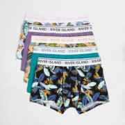 River Island Mens Pink floral tropical print hipsters multipack - Size