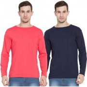 Cliths Cotton Orange And Navy Full Sleeves Round Neck Tshirts For Men -Pack Of 2