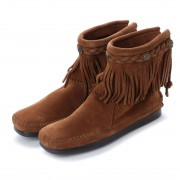 【SALE 35%OFF】ミネトンカ Minnetonka Hi Top Back Zip Boots (ダークブラウン) レディース