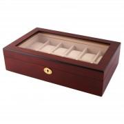 Warren Asher Abschließbare Goldfarbene & Kirschholz Uhrenbox - 12 Uhren
