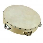 Tamburina lemn, 20 cm, Crem