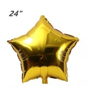 ZOOYOO 24pcs Star Shape Foil Mylar Balloons,24 Inch Gold Pentagram Balloon For Birthday Party & Wedding Decoration