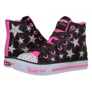 SKECHERS Rockin Stars 10778L Lights (Little KidBig Kid) BlackNeon Pink