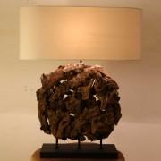 Braun Tischlampe aus Recyclingholz Braun Beige