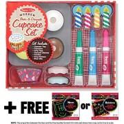 Bake and Decorate Cupcake Set - Play Food Set + FREE Melissa & Doug Scratch Art Mini-Pad Bundle [40198]