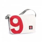 360° Taschen 360° Barkasse Mini Segeltuchtasche weiß / Zahl rot