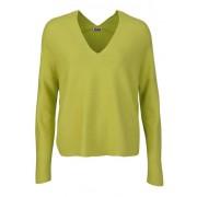 DRYKORN Langarm Pullover FELINE V-Ausschnitt Cropped neon gelb