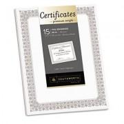 Premium Certificates, White, Fleur Silver Foil Border, 66 Lb, 8.5 X 11, 15/pack