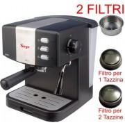 Macchina per Caffe Espresso per 1 o 2 tazze SUPER CREMA e Cappuccino caffe in polvere Gran Bar