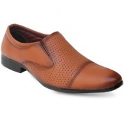 Axonza Men's Brown Synthetic leather Slip On Formal Shoes