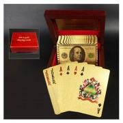 Creativo Plástico Esmerilado Gold Dollar Textura De Mosaico Desde Las Vegas A Macao Naipes De Poker Texas Con Caja De Regalo