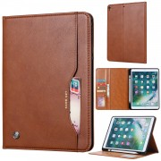 Auto-absorbed PU Leather Wallet Stand Tablet Case with Pen Slot for iPad 10.2 (2019) - Brown