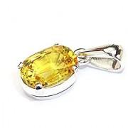 Jaipur gemstone 7.25 carat yellow sapphire(pukhraj) ashtadhatu pendant