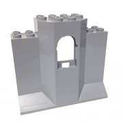 Lego Parts: Castle Wall Panel 3 x 8 x 6 with Window (Light Bluish Gray)