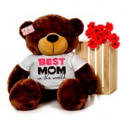 4 feet big brown teddy bear wearing Best Mom in the world T-shirt