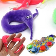 6PCS Magic Twisty Fuzzy Worm Wiggle Moving Sea Horse Kids Trick Toy Six Color