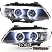 2 Phares avant BMW X5 E53 Angel Eyes CCFL 03-06 - Noir