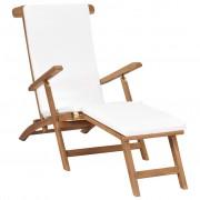 vidaXL Стол за веранда с възглавница, кремавобял, тиково дърво масив