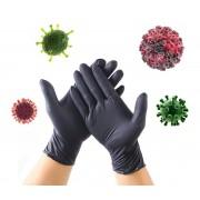 Ochranné rukavice antibakteriální z nitrilu proti virům a bakteriím - Černé