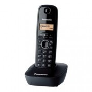 Безжичен телефон Panasonic KX-TG1611,течнокристален черно-бял дисплей, сив