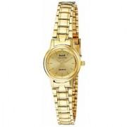 HWT Round Dial Gold Metal Strap Analog Watch For Women