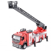 CP VOLVO 1/50 Scale Diecast Fire Ladder Truck Rescue Fire Engine with Lights & Sounds