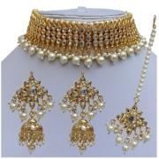 Lucky Jewellery Designer White Color Kundan Stone Gold Plating Choker Necklace Set For Girls Women