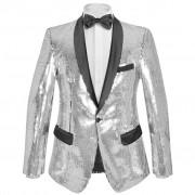 vidaXL férfi szmoking ezüst flitteres blézer 56-os méret