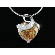 Szíves Swarovski kristályos nyaklánc borostyán szinű szív alakú medállal