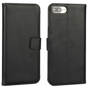 Black Genuine Leather Wallet Case for Apple iPhone 7 Plus