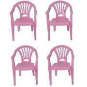 Merkloos 4x Plastic kinderstoelen roze 37 x 31 x 51 cm