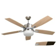 """LBA Home LARGE SIZE ceiling fan chrome and pine 140 cm / 55.1"""" with remote control and lighting"""