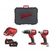 Milwaukee M18 Blpp2b-502c Milwaukee Kit Trapano E Avvitatore Powerpack Brushless M18 Professionale A Batteria 18 V
