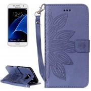 Para Samsung Galaxy S7 EDGE / G935 Media Flor Impresión Horizontal Flip Funda De Cuero Con Soporte Y Ranuras Para Tarjetas Y Billetera Y Lanyard (azul Oscuro)