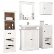 vidaXL Set mobilier de baie, 5 piese, alb, lemn masiv