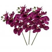 Shoppartners 3x Violet paars Phaleanopsis/vlinderorchidee kunstbloemen 70 cm