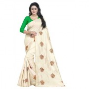 Indian Style Sarees New Arrivals Latest Women's Cream Art Silk Embroidered Saree With Blouse Bollywood Designer Saree