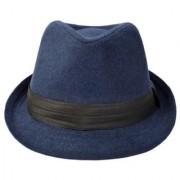 Tahiro Blue Cotton Fedora Hat - Pack Of 1