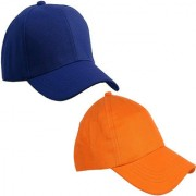 Sunshopping men's solid royal blue and orange pure cotton baseball cap (pack of two)