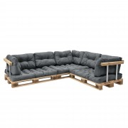 [en.casa]® Paletový nábytek - interiérová sada polštářů - model D - světle šedá