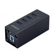 ORICO A3H4-SV Aluminum Alloy 4 Port USB3.0 HUB - Black/EU Plug