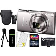 Canon PowerShot ELPH 360 HS 20.2MP 12x Zoom Full-HD 1080p Wi-Fi Digital Camera (Silver) + 32GB Card + Reader + Case + Accessory Bundle