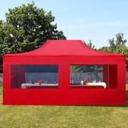 Profizelt24 Faltpavillon 4x6m rot Klappzelt, Partyzelt, Gartenzelt, Faltzelt