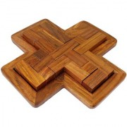 Desi Karigar Handmade Indian 9-Pieces Plus Board cross Jigsaw Puzzle Game - Wooden Toy Game - Brain Treasure