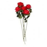 Bellatio flowers & plants Rode roos op steel 45 cm 5 stuks